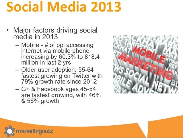 Social  Media  2013   • Major factors driving social media in 2013 – Mobile - # of ppl accessing internet via mobi...