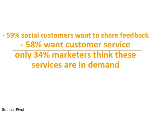 -‐  59%  social  customers  want  to  share  feedback     -‐  58%  want  customer  service  ...