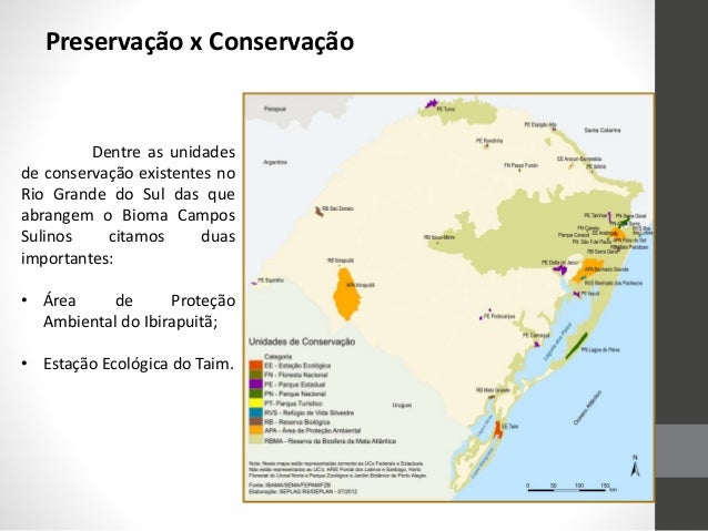 Preservação x Conservação Dentre as unidades de conservação existentes no Rio Grande do Sul das que abrangem o Bioma Campo...