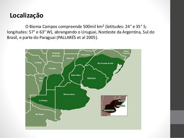 Localização O Bioma Campos compreende 500mil km² (latitudes: 24° e 35° S; longitudes: 57° e 63° W), abrangendo o Uruguai, ...