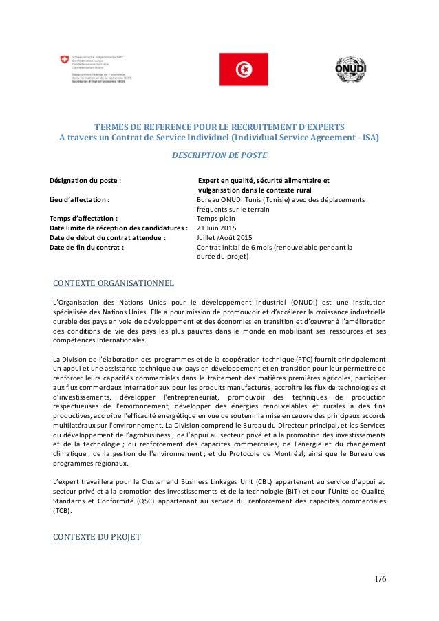 1/6 TERMES DE REFERENCE POUR LE RECRUITEMENT D'EXPERTS A travers un Contrat de Service Individuel (Individual Service Agre...