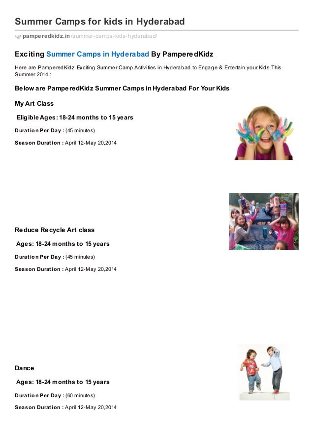 Summer Camps for kids in Hyderabad pamperedkidz.in /summer-camps-kids-hyderabad/  Exciting Summer Camps in Hyderabad By Pa...