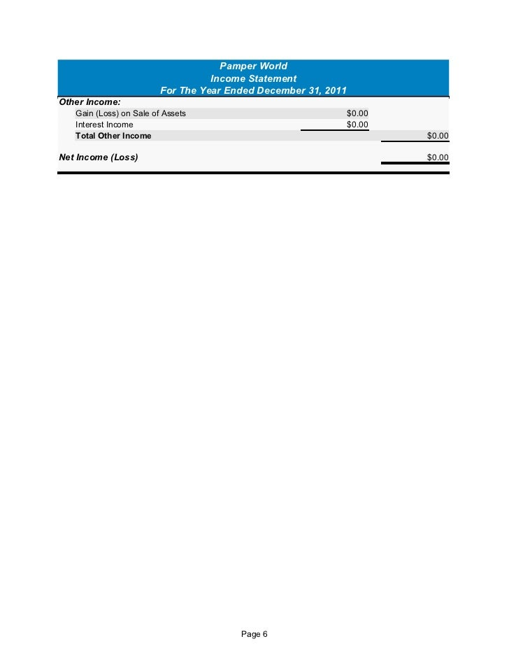 pamper world cashflow statement form