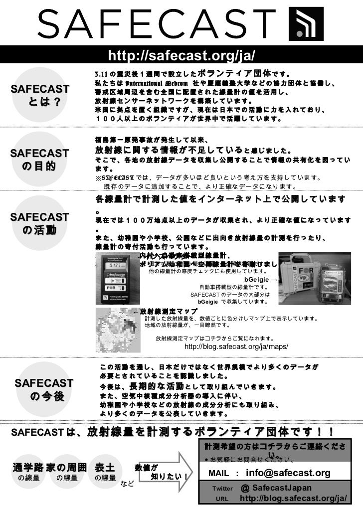 SAFECAST とは? 3.11 の震災後1週間で設立した ボランティア団体 です。 私たちは International Medcom  社や慶應義塾大学などの協力団体と協働し、 警戒区域周辺を含む全国に配置された線量計の値を活用し、 放射...