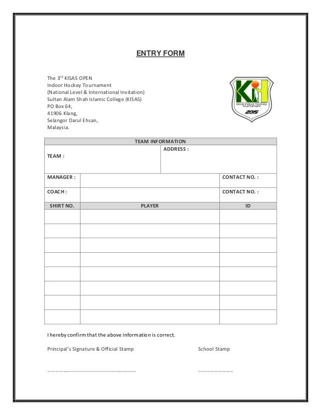 The 3rd kisas open indoor hockey tournament entry form sciox Gallery