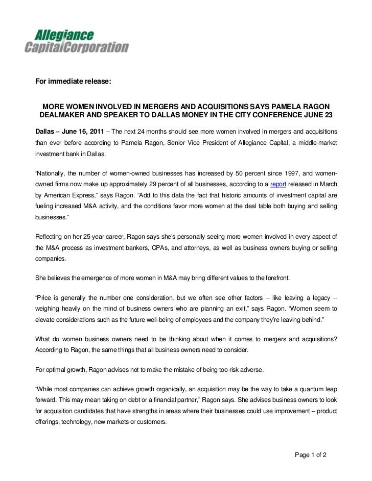 For immediate release:  MORE WOMEN INVOLVED IN MERGERS AND ACQUISITIONS SAYS PAMELA RAGON DEALMAKER AND SPEAKER TO DALLAS ...
