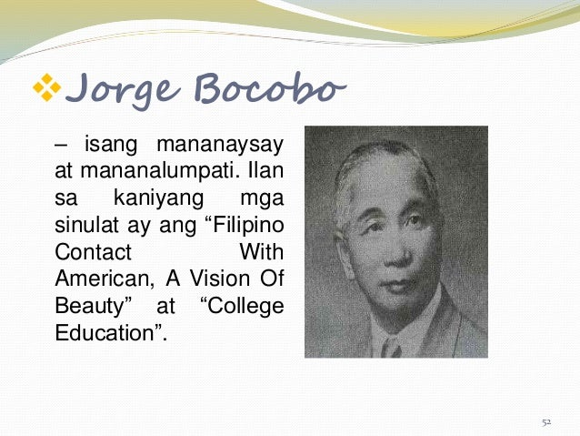 college education by jorge bocobo full essay The triumph of tagalog and the dominance of the discourse on english language politics in the philippines during the american colonial period 7.