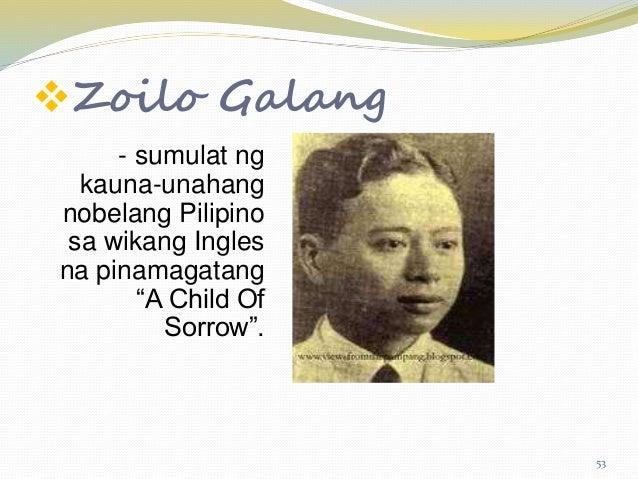 """zoilo galang sa child of sorrow Jose garcia villa doveglion pinakatanyag na pilipinong manunulat sa ingles from cas em 1  beauty zoilo galang  ingles na pinamagatang """"a child of sorrow."""