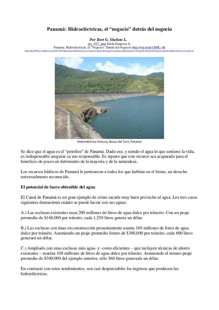 """Panamá: Hidroeléctricas, el """"negocio"""" detrás del negocio                                                                  ..."""