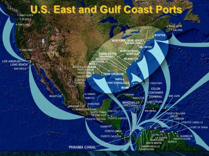 Panama Canal Expansion - Us east coast ports map