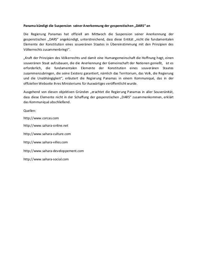 """Panama kündigt die Suspension seiner Anerkennung der gespenstischen """"DARS"""" an Die Regierung Panamas hat offiziell am Mittw..."""