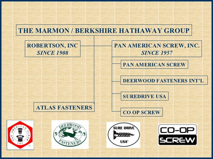 THE MARMON / BERKSHIRE HATHAWAY GROUP ROBERTSON, INC SINCE 1908 PAN AMERICAN SCREW, INC. SINCE 1957 PAN AMERICAN SCREW DEE...