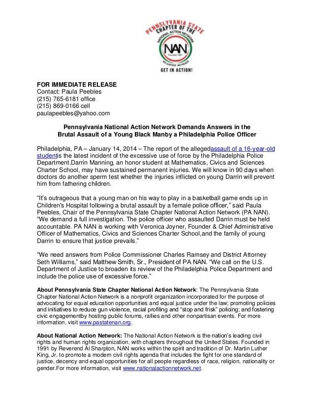 FOR IMMEDIATE RELEASE Contact: Paula Peebles (215) 765-6181 office (215) 869-0166 cell paulapeebles@yahoo.com Pennsylvania...