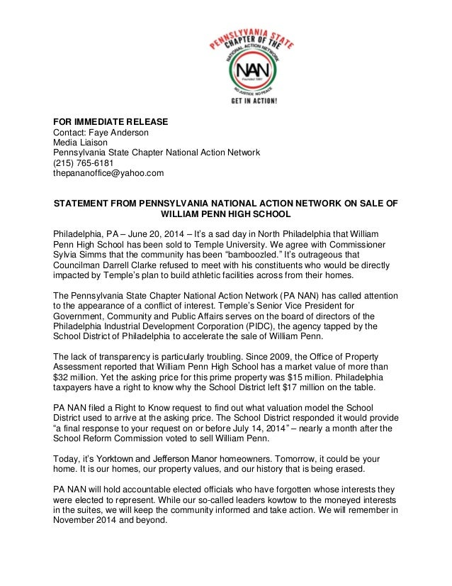 FOR IMMEDIATE RELEASE Contact: Faye Anderson Media Liaison Pennsylvania State Chapter National Action Network (215) 765-61...