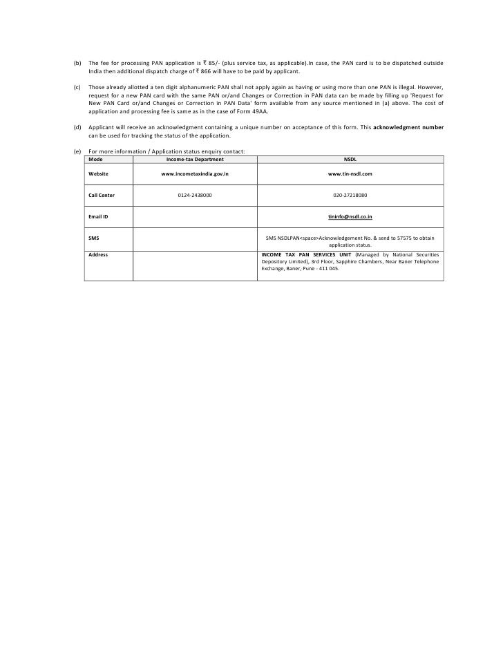 Pan Application Form 49 Aa For Foreign Citizens