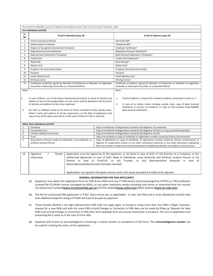 Pan application form 49 a for indian citizens documents 6 yelopaper Gallery