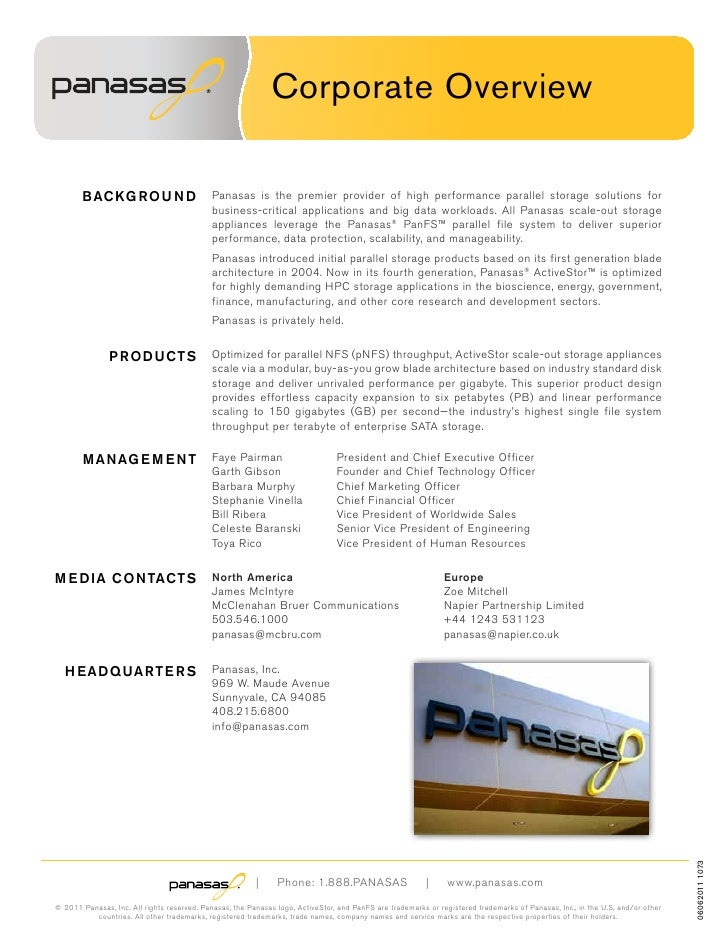 Corporate Overview       B AC KG R O U N D                    Panasas is the premier provider of high performance parallel...