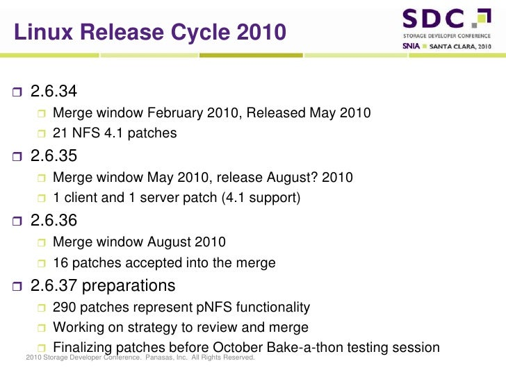 Linux Release Cycle 2010<br />2.6.34<br />Merge window February 2010, Released May 2010<br />21 NFS 4.1 patches<br />2.6.3...