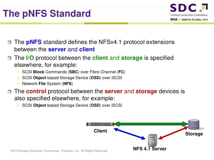 The pNFS Standard<br />The pNFS standard defines the NFSv4.1 protocol extensions between the server and client<br />The I/...