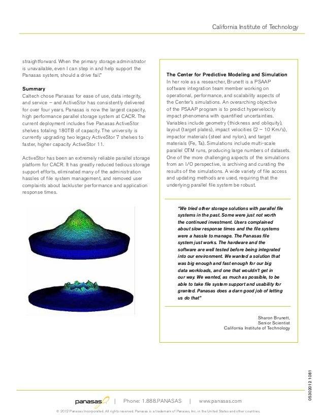 California Institute of Technology 053020121081 | Phone: 1.888.PANASAS | www.panasas.com © 2012 Panasas Incorporated. All ...