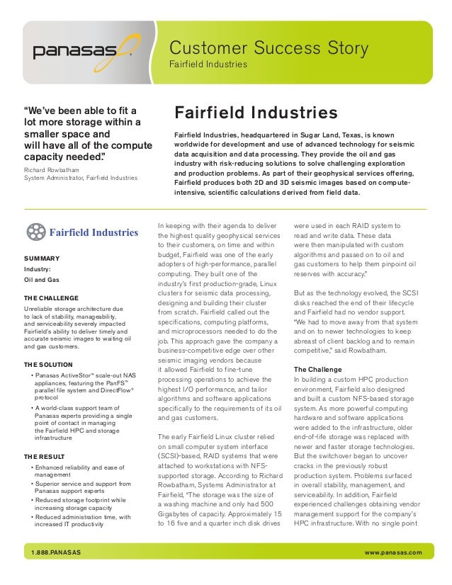 """Customer Success Story Fairfield Industries 1.888.PANASAS www.panasas.com Fairfield Industries""""We've been able to fit a lo..."""