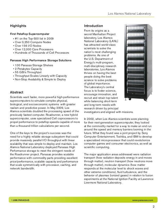 1.888.PANASAS www.panasas.com Los Alamos National Laboratory Highlights First Petaflop Supercomputer • #1 on the Top-500 l...