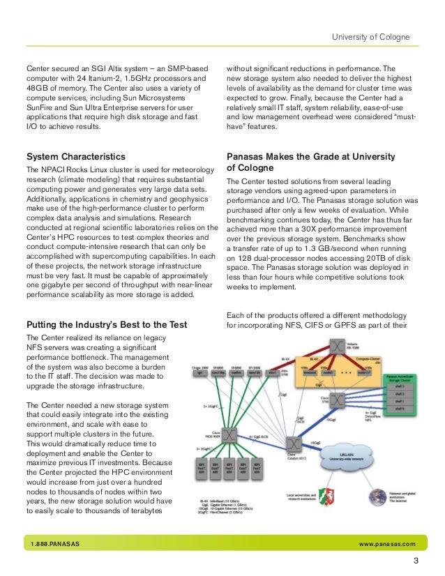 1.888.PANASAS www.panasas.com University of Cologne Center secured an SGI Altix system – an SMP-based computer with 24 Ita...