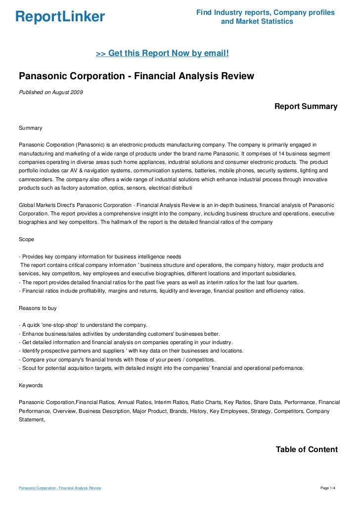 Panasonic Corporation - Financial Analysis Review