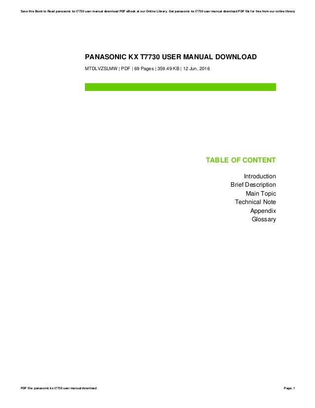 panasonic kx t7730 user manual download rh slideshare net manual panasonic kx-t7730 español Panasonic Kx T7731 Programming Manual