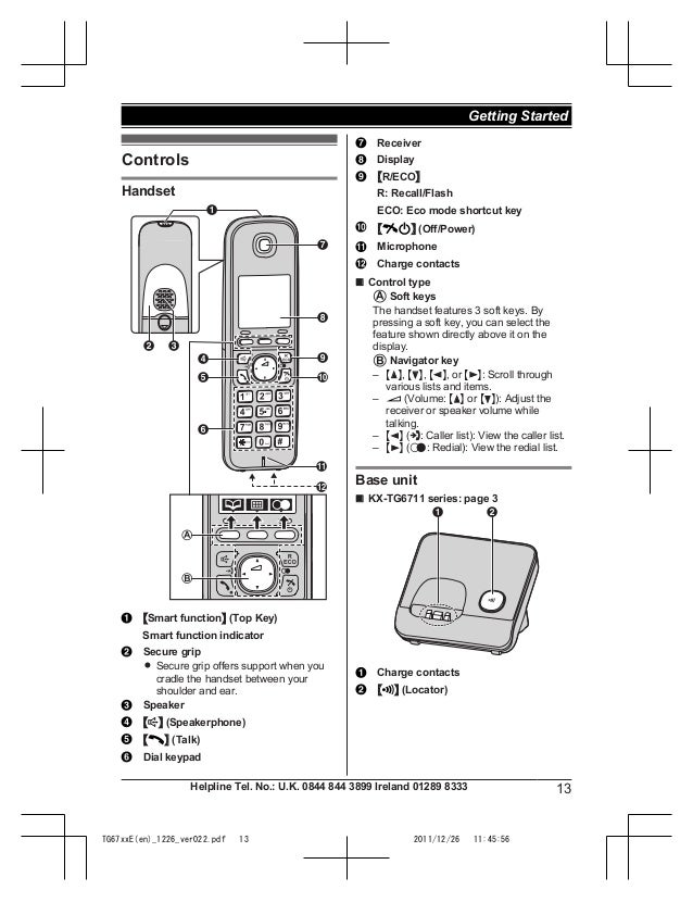 Panasonic Kx Tg6711 Manual