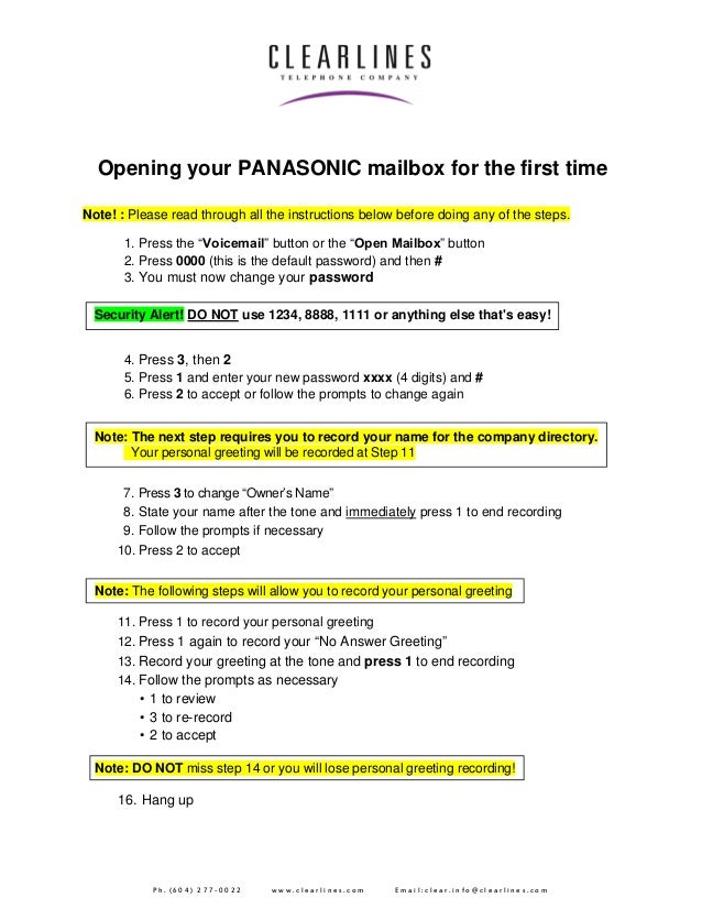 Panasonic initializing and opening your mailbox for the first time opening your panasonic mailbox for the first time note please read through all the m4hsunfo