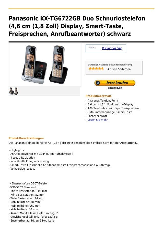 Panasonic KX-TG6722GB Duo Schnurlostelefon(4,6 cm (1,8 Zoll) Display, Smart-Taste,Freisprechen, Anrufbeantworter) schwarz ...
