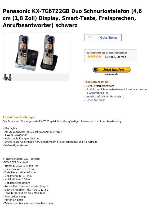 Panasonic KX-TG6722GB Duo Schnurlostelefon (4,6cm (1,8 Zoll) Display, Smart-Taste, Freisprechen,Anrufbeantworter) schwarz ...