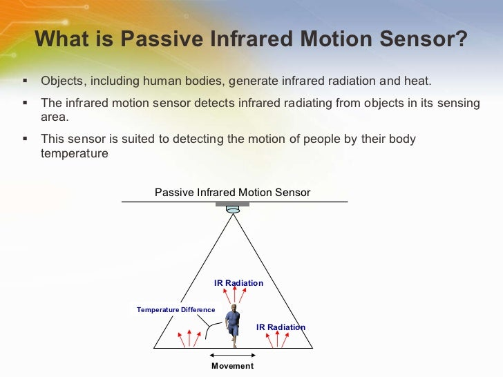 What is Passive Infrared Motion Sensor? <ul><li>Objects, including human bodies, generate infrared radiation and heat. </l...