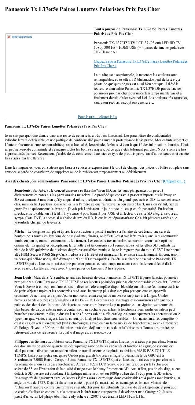 Panasonic Tx L37et5e Paires Lunettes Polarisées Prix Pas CherPour le prix ... cliquez ici! »Panasonic Tx L37et5e Paires Lu...