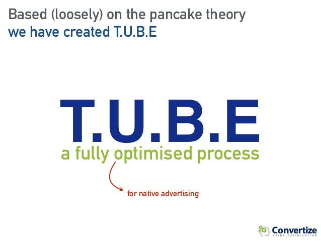 Based (loosely) on the pancake theory we have created T.U.B.E T.U.B.Ea fully optimised process for native advertising