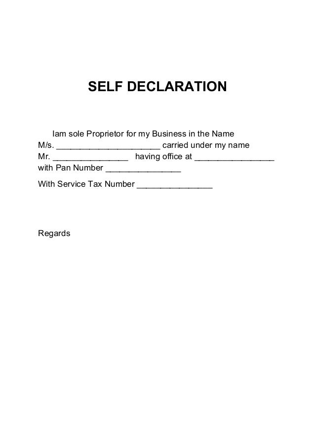 SELF DECLARATION Iam Sole Proprietor For My Business In The Name M/s.  Name Card Format
