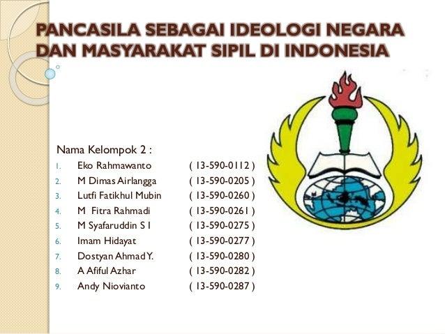 PANCASILA SEBAGAI IDEOLOGI NEGARA DAN MASYARAKAT SIPIL DI INDONESIA Nama Kelompok 2 : 1. Eko Rahmawanto ( 13-590-0112 ) 2....
