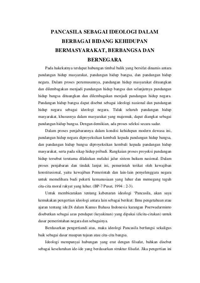 PANCASILA SEBAGAI IDEOLOGI DALAM              BERBAGAI BIDANG KEHIDUPAN          BERMASYARAKAT, BERBANGSA DAN             ...
