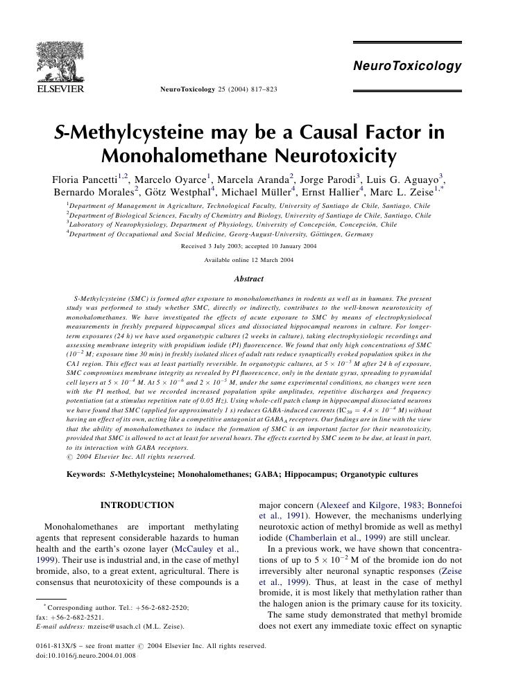NeuroToxicology 25 (2004) 817–823     S-Methylcysteine may be a Causal Factor in         Monohalomethane Neurotoxicity    ...