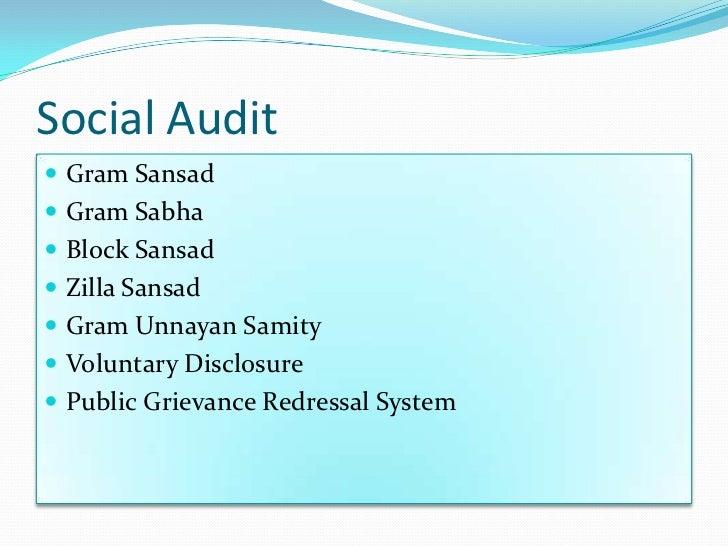 Social Audit Gram Sansad Gram Sabha Block Sansad Zilla Sansad Gram Unnayan Samity Voluntary Disclosure Public Griev...