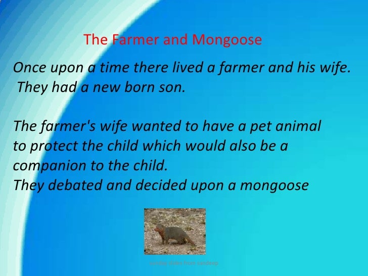 The Farmer and Mongoose<br />Once upon a time there lived a farmer and his wife.<br />They had a new born son. <br />The f...