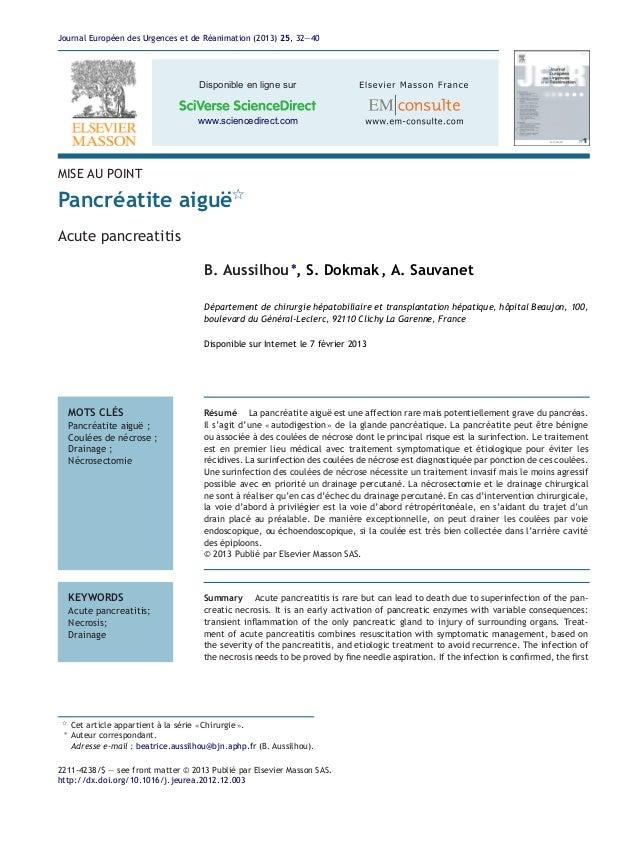 Journal Européen des Urgences et de Réanimation (2013) 25, 32—40 Disponible en ligne sur www.sciencedirect.com MISE AU POI...