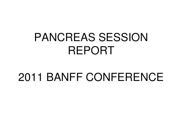 PANCREAS SESSION      REPORT2011 BANFF CONFERENCE
