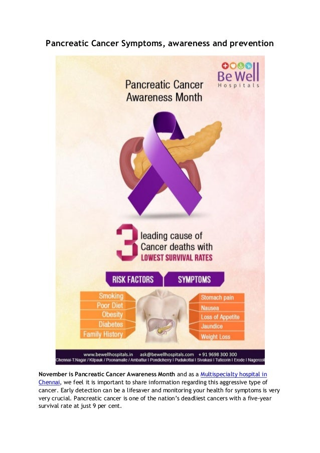 Pancreatic Cancer Symptoms, awareness and prevention