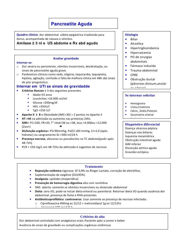 Pancreatite AgudaQuadro clínico: dor abdominal súbita epigástrica irradiando para                    Etiologiadorso, acomp...