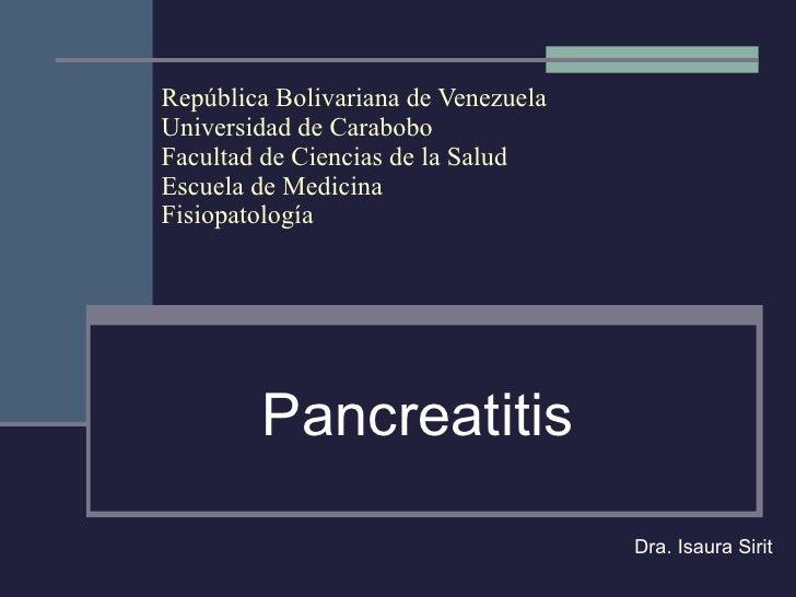 República Bolivariana de Venezuela Universidad de Carabobo Facultad de Ciencias de la Salud Escuela de Medicina Fisiopatol...