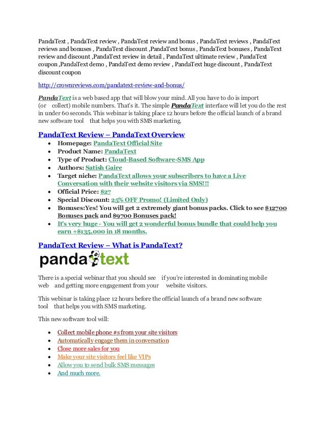 PandaText , PandaText review , PandaText review and bonus , PandaText reviews , PandaText reviews and bonuses , PandaText ...