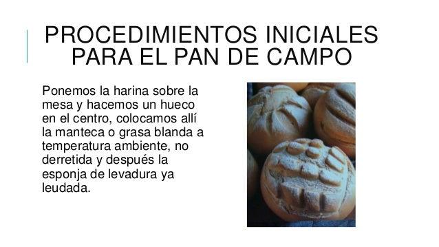 PROCEDIMIENTOS INICIALES  PARA EL PAN DE CAMPOPonemos la harina sobre lamesa y hacemos un huecoen el centro, colocamos all...