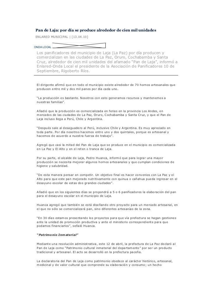 Pan de Laja: por día se produce alrededor de cien mil unidadesENLARED MUNICIPAL | [13.04.10]ONDA LOCAL Los panificadores d...